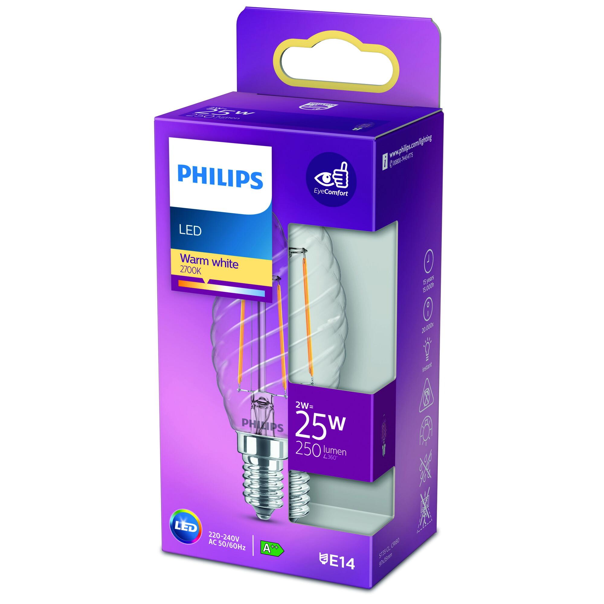 Philips LED classic E14 2W 250lm 2700K Kaars Transparant
