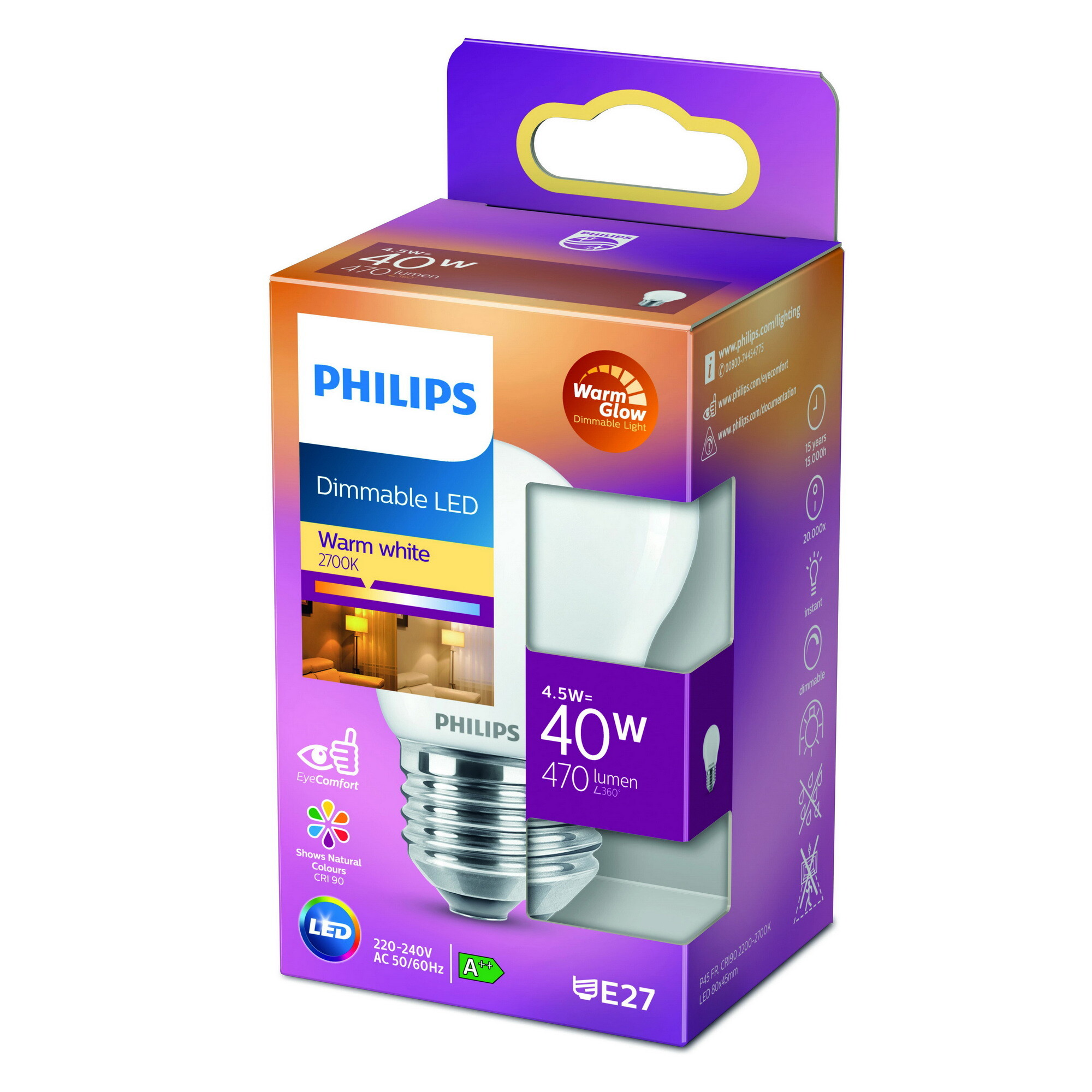 Philips LED classic E27 4,5W 470lm 2200K-2700K Kogel Frosted